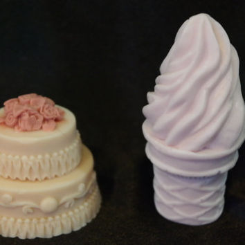 1 (ONE) Ice Cream Soap AND 1 (ONE) Cake Soap - Dessert Soap - Food Soap - 3D soap - Pick your Color and Fragrance - Alaska Handmade Soap