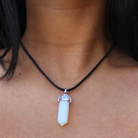 Holographic Opalite Crystal Point Choker Necklace Opalite Pendant Opal Necklace