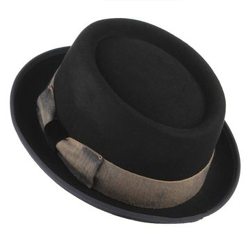Black Color Steampunk Hat For Men Vintage Bowknot Woolen Fedora Top Hat Male Church Jazz Caps Warm Winter Hats Christmas Gifts