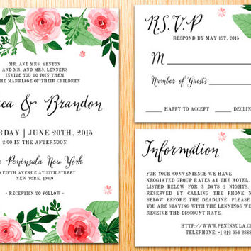 Romantic Flower Wedding Suite Set Handwritten Script Floral Garden Rustic Country Invitation Kit Wedding Card Package Digital Printable