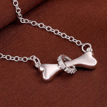 Gorgeous Pet Dog Creative Bone Ring Pendant Silver Dogs Necklace Jewelry  FREE SHIPPING