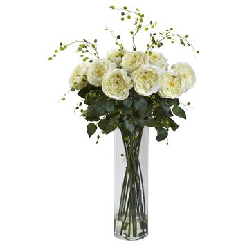 Artificial Flowers -Giant Fancy White Rose And Willow Arrangement Artificial Plant