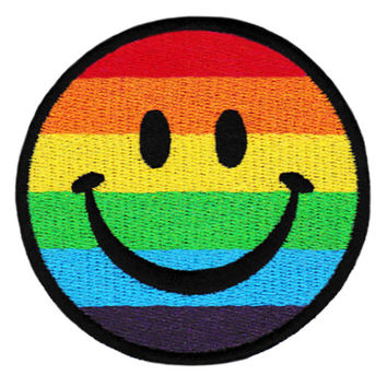 ON SALE NOW Lgbt Gay Lesbian Bisexual Smiley Smile Face Patch 8cm Applique