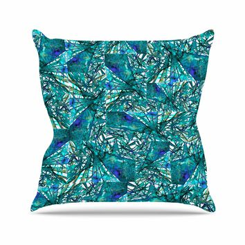 """Ebi Emporium """"New Directions, Peacock Cool"""" Teal Blue Pattern Geometric Mixed Media Painting Outdoor Throw Pillow"""