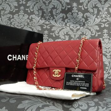 Rise-on Vintage CHANEL Lamb Skin RED Double Flap Chain Shoulder bag #1887