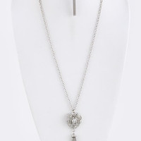 Silver Heart Chain Tassel Pendant Necklace Set