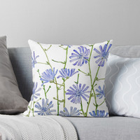 'purple chicory watercolor ' Throw Pillow by ColorandColor