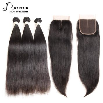 Joedir Pre-colored 2 3 4 Bundles With Closure Brazilian Straight Hair Non Remy Human Hair Bundles With Closure Free Shipping 1