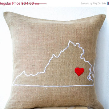 Valentine SALE Burlap Pillows - State Pillow - Embroidered pillow- Personalized Pillow covers - Customized Cushion- Gift-20x20 -Burlap Cushi