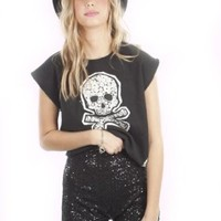 One Rad Girl Annabelle Sequin Shorts in Black