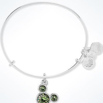 Disney Mickey Mouse Birthstone Bangle by Alex and Ani August Silver Finish New