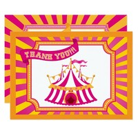 Carnival Tent | Orange and Pink Thank You Cards