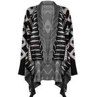ZLYC Women Aztec Tribal Geometric Waterfall Open Front Blanket Wrap Cardigan Sweater