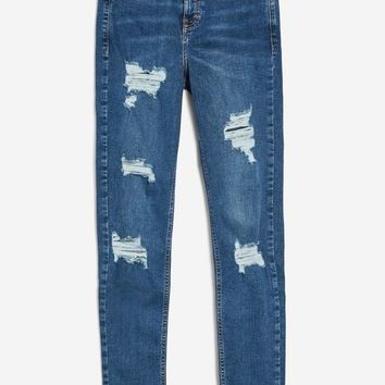 MOTO Rich Blue Super Ripped Jeans | Topshop