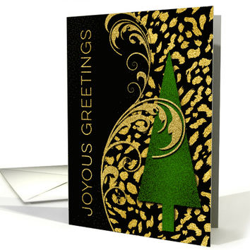 Faux Gold Leaf Cheetah Animal Print and Glitter Like Christmas Tree card
