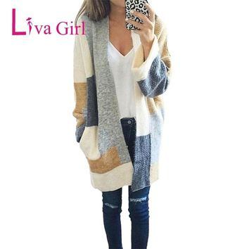 Autumn Spring Sweater for Women Long Sleeve Patchwork Cardigans 2018 New Fashion Feminine Long Style Coats with Pockets Clothing