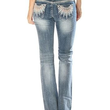 Grace in LA Women's Feather Pocket Jeans - Boot Cut