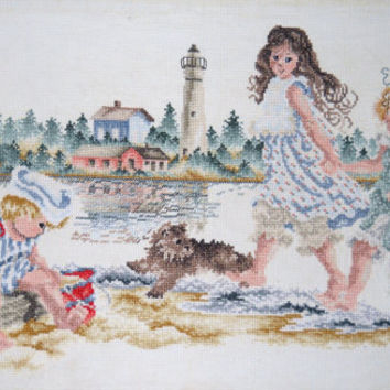 Finished Counted Cross Stitch - A Day at the Beach - Lighthouse Sandcastle Scene