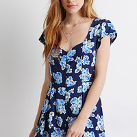 Buttoned Floral Romper