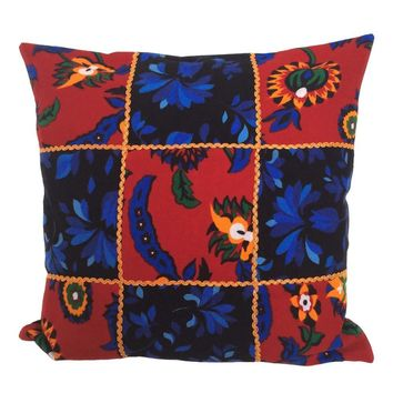 "Flannel Floral/Flowers Pattern 18""x18"" Patchwork Pillow Cover - Red, Black"