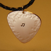 Copper Guitar Pick Pendant with Hammered Texture and by NiciLaskin