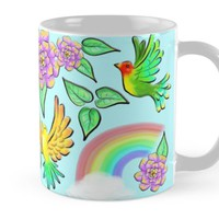 'Birds Flowers and Rainbows Doodle Pattern' Mug by BluedarkArt