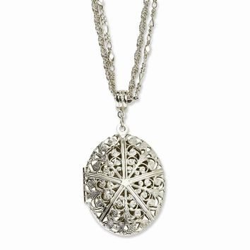 "Silver-tone Oval Locket on 16"""" Double Chain Necklace"