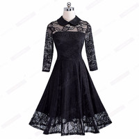 Women Elegant Floral Lace Mesh Party Dress Vintage Style Swing Pinup Three Quarter Sleeve Lined A-li