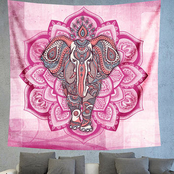 Pink Bohemian elephant Mandala wall tapestry, Unique wall decor, Wall hanging tapestry, boho chic wall decors