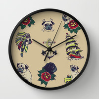 Pugs and the sea Wall Clock by Huebucket