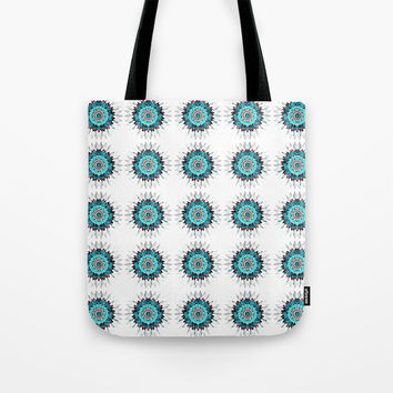 Rustic Turquoise Mandala Tile Tote Bag by Lake & River