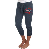 New England Patriots Ladies Fourth Down Tri-Blend Capri Pants - Navy Blue