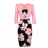 One Piece Floral Printed Elegant Business Formal Work Dress