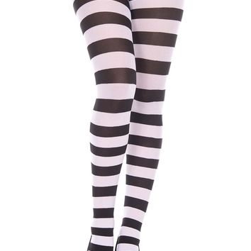 White/Black Striped Tights
