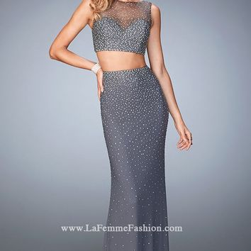 Two-Piece Net Gown by La Femme