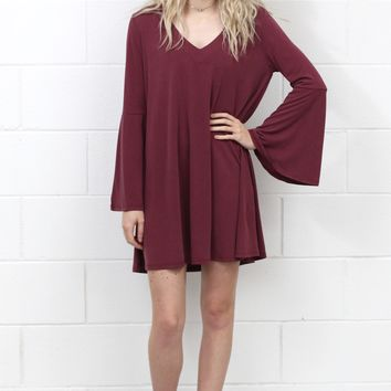 Bell Sleeve Cupro Basic V-neck Dress {Burgundy}