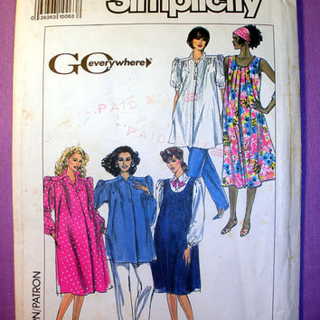 Maternity Pants, Dress, Top, Sundress, Jumper Size 8, 10, 12, 14, 16 Simplicity 9595 Sewing Pattern Uncut