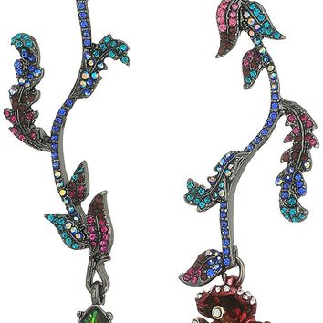 Betsey Johnson Surreal Forest Mismatch Linear Flower Drop Earrings