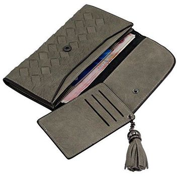 Weave Clutch Wallet with Fringe Credit Card Holder Purse for Teen Girls and Women