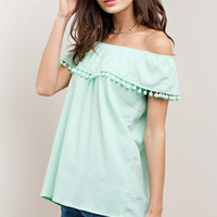 Mint Pom Pom Off Shoulder Top