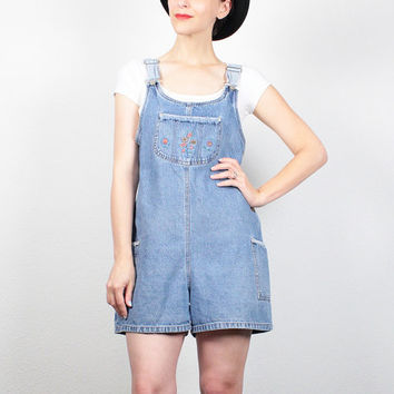 Vintage 90s Overall Shorts Blue Jean Jumper Soft Grunge Floral Embroidered Overalls 90s Denim Shortalls Romper Playsuit Shorts S M Medium