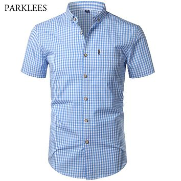 9a9596d5 Small Plaid Shirt Men Summer New Short Sleeve Cotton Mens Dress