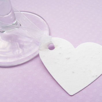 50 x 2 Inch Plantable Heart Favour Tags - Embedded with Flower Seeds - Wedding, Tags, Favours, Table Decor
