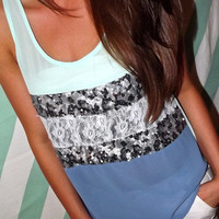 Sequins & Lace in Mint | The Rage