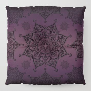 Violet & Black Mandalas Floor Pillow by inspiredimages