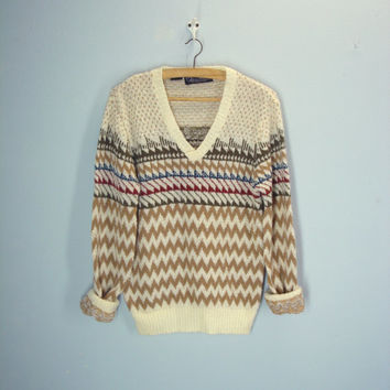 70s Vintage Sweater / Chevron Sweater / Mens Sweater / 1970s