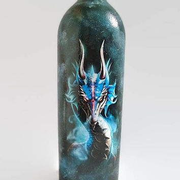 Dragon Bottle of Wine A blue Dragon Art Decoupage bottle A gift for him  Painted glass Blue bottle The head of a dragon