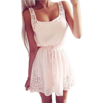 Cute Summer Sexy A-Line Women Kawaii Pink White Lace Chiffon Dress Sleeveless Drawstring Spaghetti Strap Hollow Out Lolita Dress