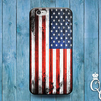 Cool Wood Grain American USA Flag Cute Case iPod Cover iPhone 4 4s 5 5s 5c 6 Fun