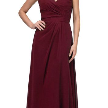 Starbox USA 6425 Strapless Long Bridesmaid Dress with Slit Burgundy